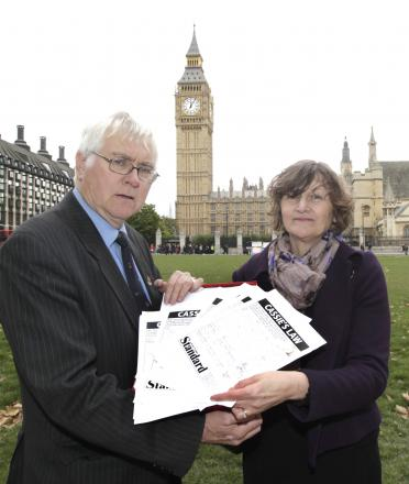 Jackie McCord and Colchester MP Sir Bob Russell in London