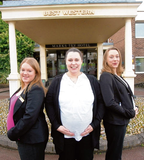 Three of the staff at the Best Western Marks Tey Hotel are all due to give birth in April. (from left) Jenny McClinton, Karolina Skorcz and Stepanie Lenhard.