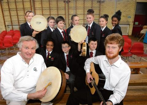 Colchester Academy pupils have a visit from Jim and Ambrose McCool as part of National Storeytelling week