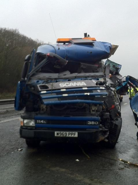 LATEST: Lorry crashes with passenger carrying bus on A12