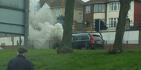 Car blaze on Cowdray Avenue - Photo by Lisa Cherry