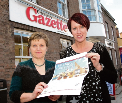 Reader Sue Satchell with Gazette promotions manager Tanya Rees.