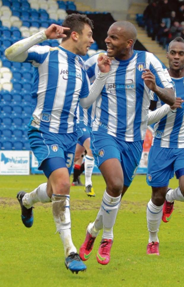 Boost - George Porter (left) celebrates his goal against Crewe with Clinton Morrison but they ended up on the losing side as the U's were beaten. Picture: NIGEL BROWN (CO76422-45)