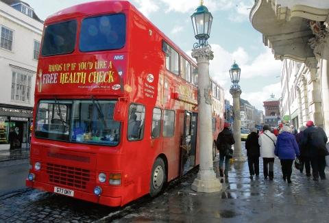 The health bus outside Colchester town hall.