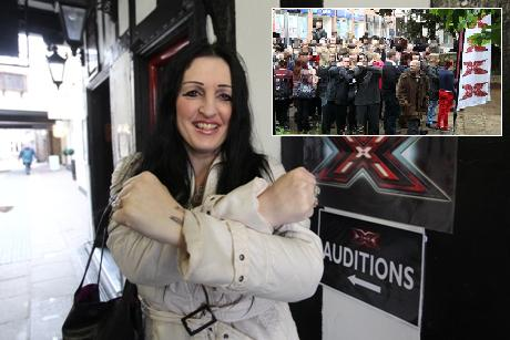 Cher Townrow was the only X Factor auditionee in the first hour, compared to last year's queues (inset)