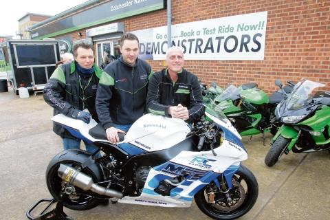 Kawasaki open day at King Edward Quay, Colchester. James Hogben (manager), Luke Gregory (owner) with Nick Morgan, race team manager with the 2013 TT Isle of Man racing machine.