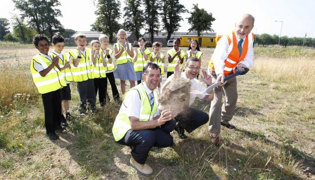 Gazette: The first sod is cut on the new extension for St John's Green Primary School in Colchester
