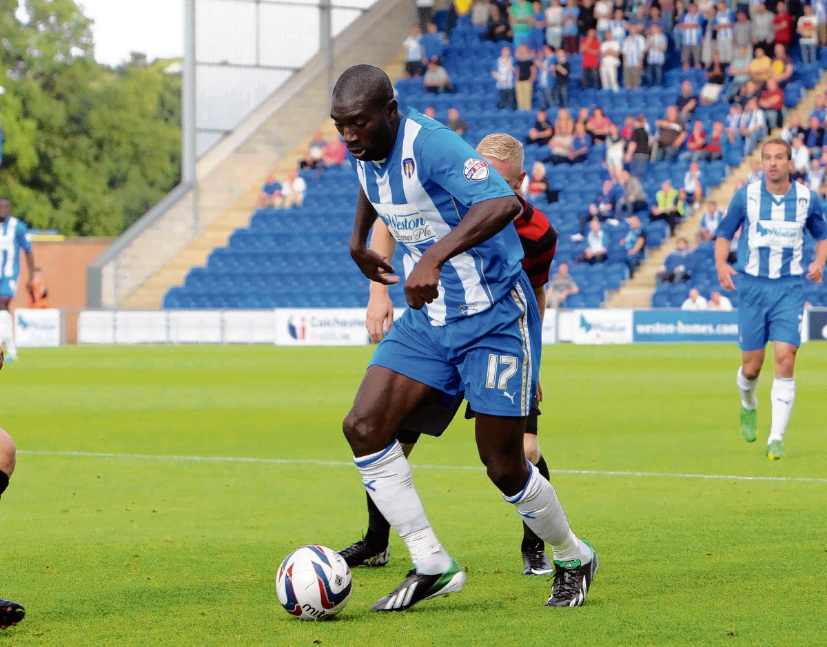 On target - Jabo Ibehre netted a spectacular goal for Colchester in their 4-0 win over Stevenage.
