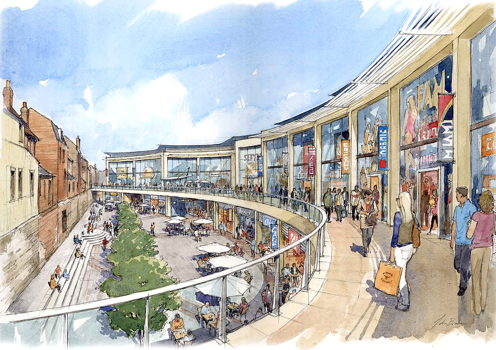 An artist's impression from 2012 shows how Vineyard Gate shopping centre could look.