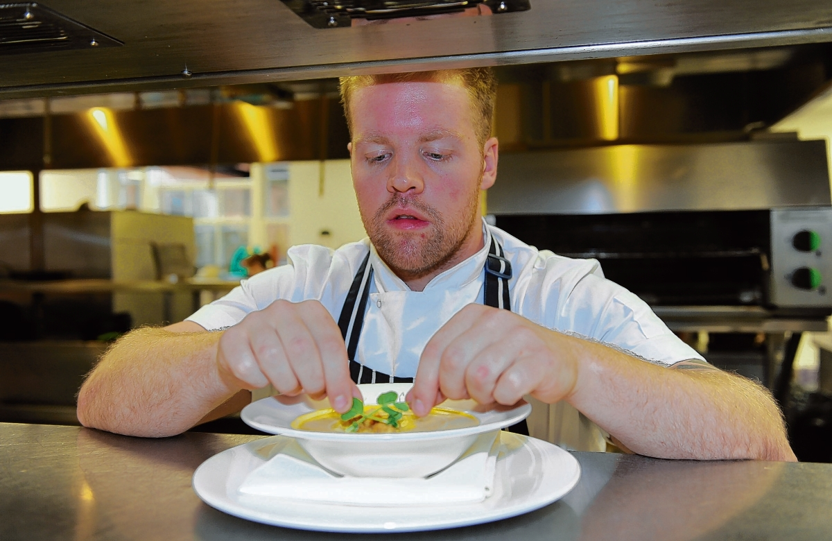 Head chef – Robert Pearce in the kitchen at the Garden restaurant,