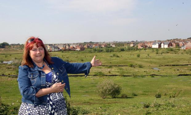 Lesley Scott-Boutell, borough councillor for Stanway, with the Lakelands estate in the background.