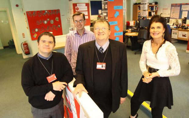 Learning centre volunteers Stavros Clarke and Mark Wright with Dee Bond and David Kerridge