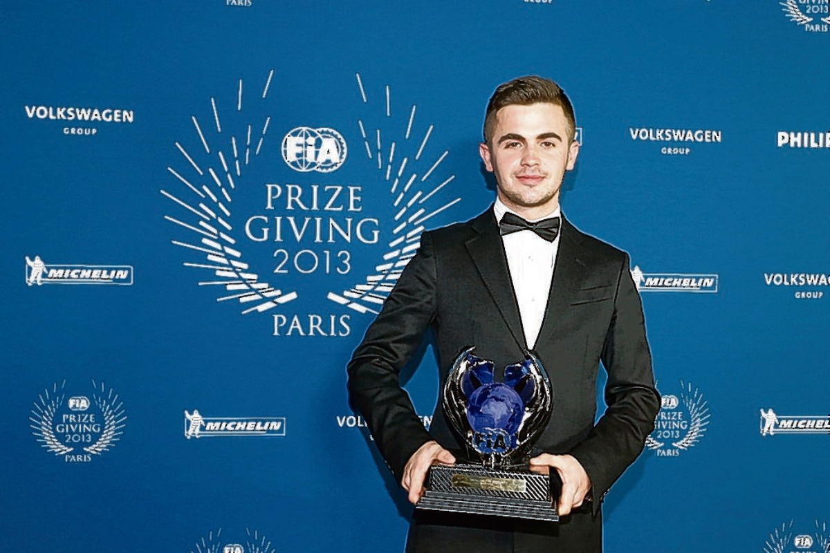 Success - Tom Joyner with his award. Picture: FIA