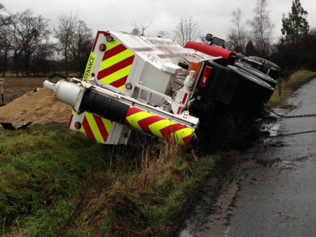 The sand lorry overturned in Langham Lane, Langham.
