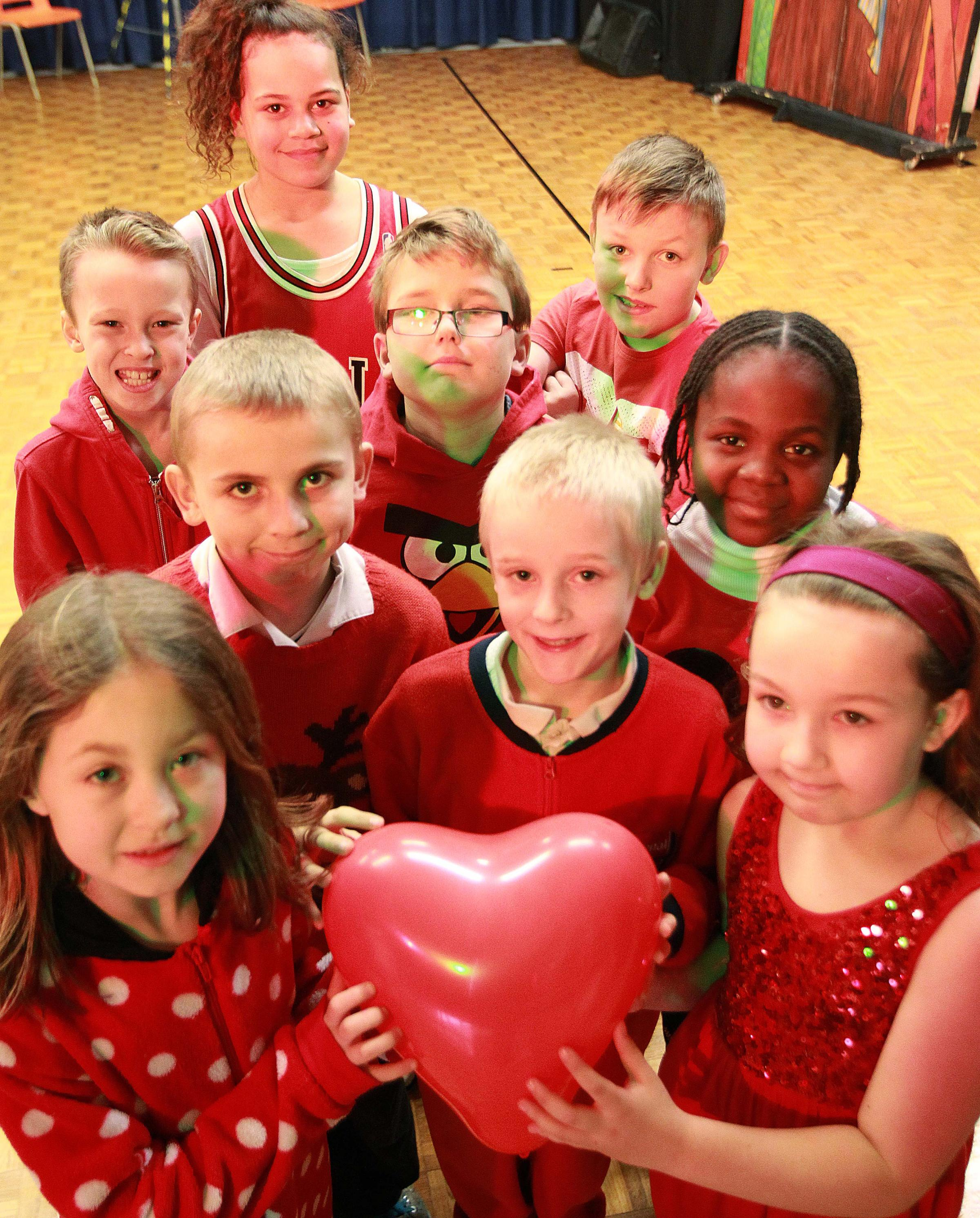 Pupils at St Andrew's Junior School, Greenstead, dressed up in red to raise cash for the British Heart Foundation.