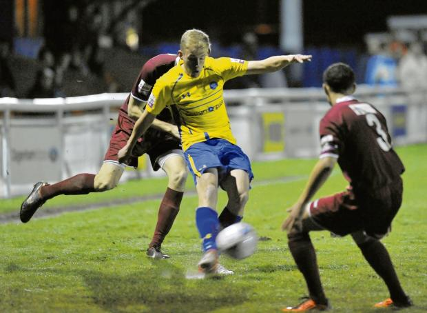 Rapid return - U's defender Mason Spence, pictured here playing for Concord Rangers on loan, is set to play against the Beachboys in Colchester's Essex Senior Cup semi-final tonight. Picture: ANNA LUKALA (BA89797-18)