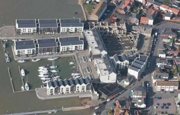 An aerial view of the Waterside Marina, Brightlingsea, showing the unfinished phases.