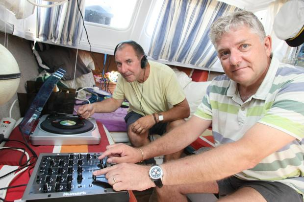 Gazette: Neil Watson and Radio Wivenhoe director Jerry Davis during an outside broadcast.
