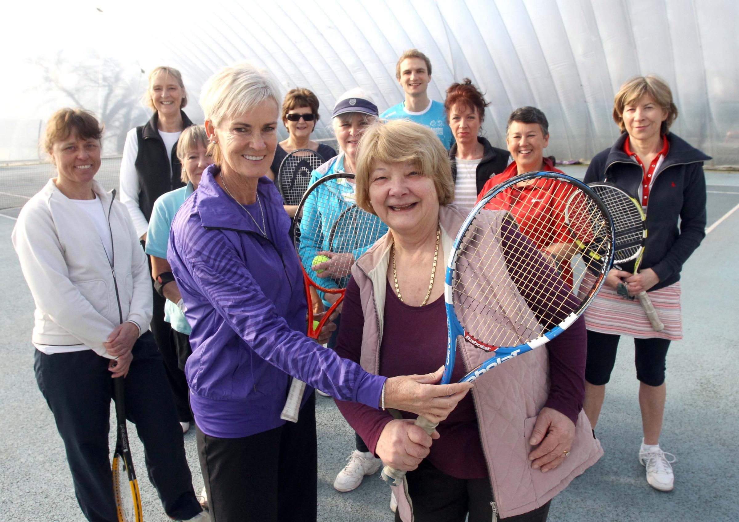 Judy Murray with Freda Emery and members of Lexden Rackets and Fitness Club.