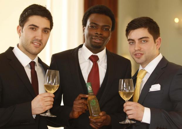 Launch – Francis Oyewole, Ardit Sota and Emilijano Muso with their upmarket tea.