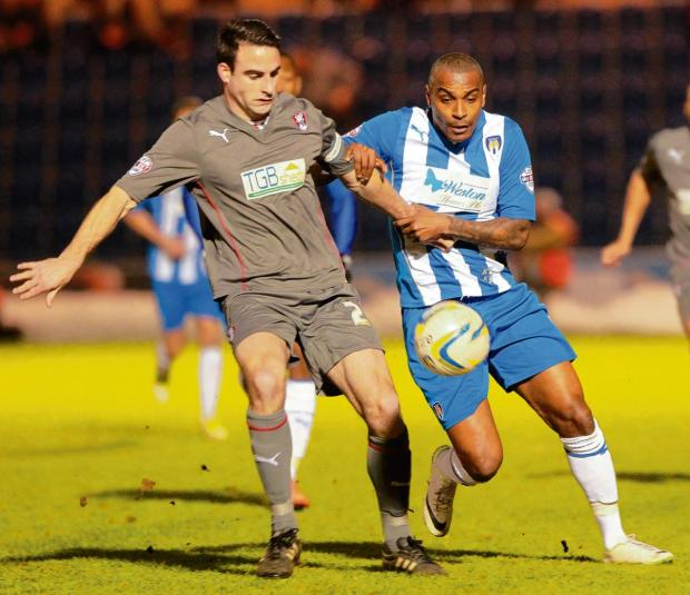 Tussle - Colchester United striker Clinton Morrison battles for possession during his side's 0-0 draw with Rotherham United. Picture: NIGEL BROWN (CO90942-06)