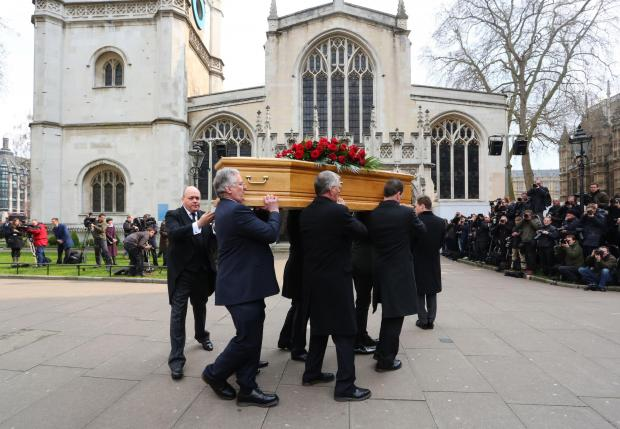 Gazette: Tony Benn's coffin is carried into St Margaret's Church, Westminster
