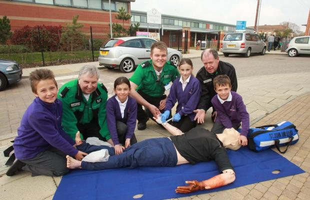 Gazette: Safety show – a mock emergency scenario was set up outside the school