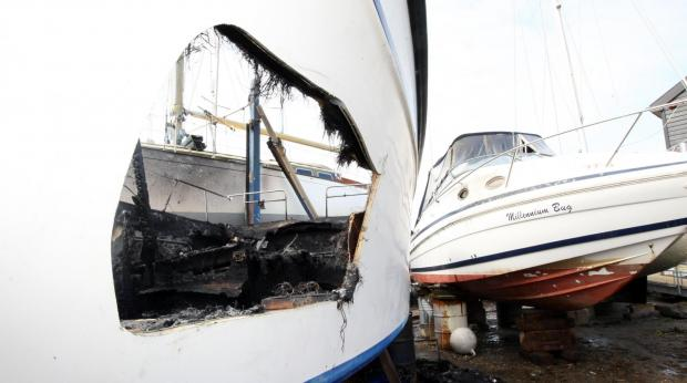Boats damaged in blaze