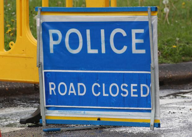 Southbound A12 blocked by three-vehicle accident