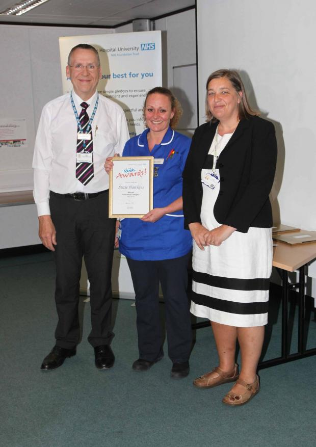 Gazette: Individual category winner Suzie Hawkins with staff governor Nic Bailey and nursing director Dee Hackett