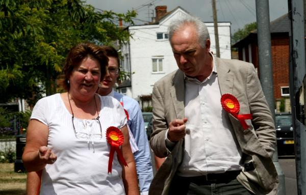 Rosalind Scott with Labour peer Lord Bassam in Wivenhoe last week