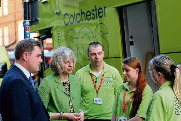 Mrs May spoke to volunteers from Colchester's SOS bus