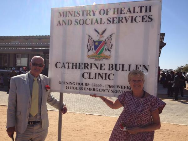 Catherine Bullen's parents Roger and Linda at the opening of the new clinic in Namibia