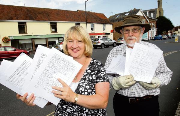 Jayne Chapman and David Dixon with a resident petition supporting the proposals