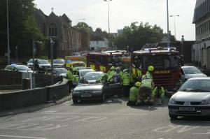 Two hurt in crash on St Botolphs roundabout