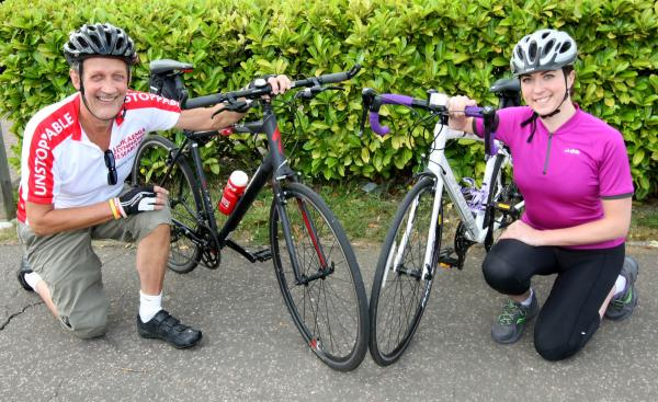 John Reeve and Lauren Hockney, ready for the charity ride to Germany