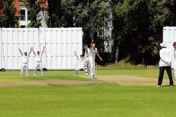 Appeal - Colchester and East Essex skipper Ben Stephens appeals for a wicket during his side's draw with Hadleigh