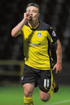 On target - Colchester United striker Freddie Sears celebrates his goal against Notts County. Picture: RICHARD BLAXALL