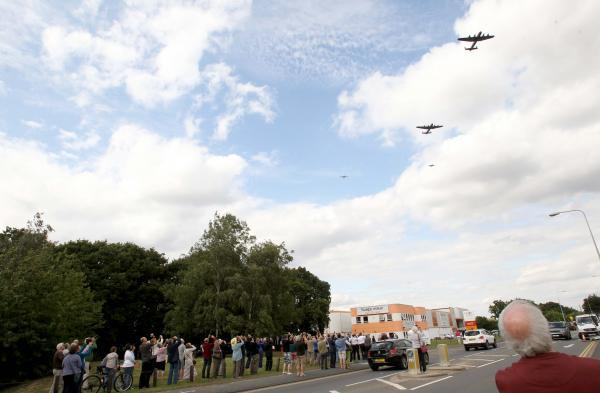 Crowds watch Lancasters fly over Colchester for the last time