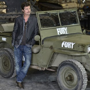 Brad Pitt during a photocall at the Tank Museum in Bovington, Dorset