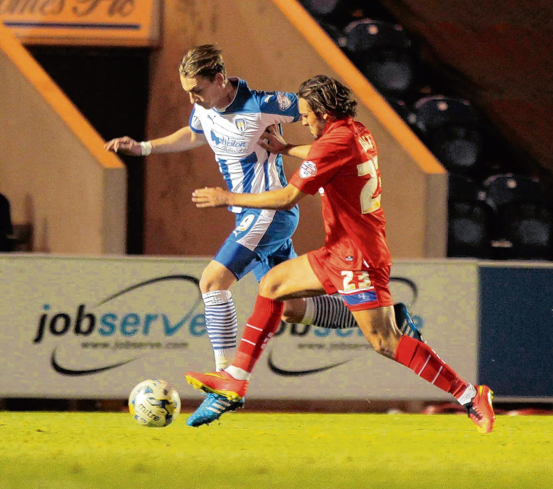 Elliott Hewitt in action for Colchester in his initial loan spell. Picture: NIGEL BROWN