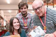 Bamber Price, Sarah Gray and Robert Stannard with the 10 best read books in Witham Library