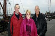 Members of the Dawn Sailing Barge Trust, Ed Carr and Keith and Glynis Yuill, at Maldon Quay