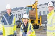 Encouraging entrants – Stansted Airport's head of construction and development, Matt Allen, with Aerozone education co-ordinator, Joanne Davies and Bernie Kelly, of Galliford Try