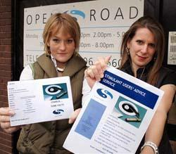 Getting the message across - Alix Sheppard and Barbara Inniss, of Open Road. Picture: STEVE ARGENT (59800-1)