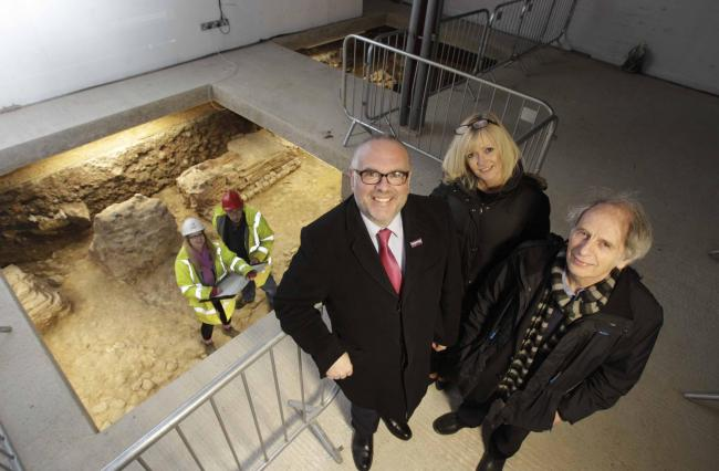 Colchester Council's culture boss Tim Young, Flying Trade Group representative Sarah Head-Anderson and the Colchester Archaeological Trust's director Philip Crummy