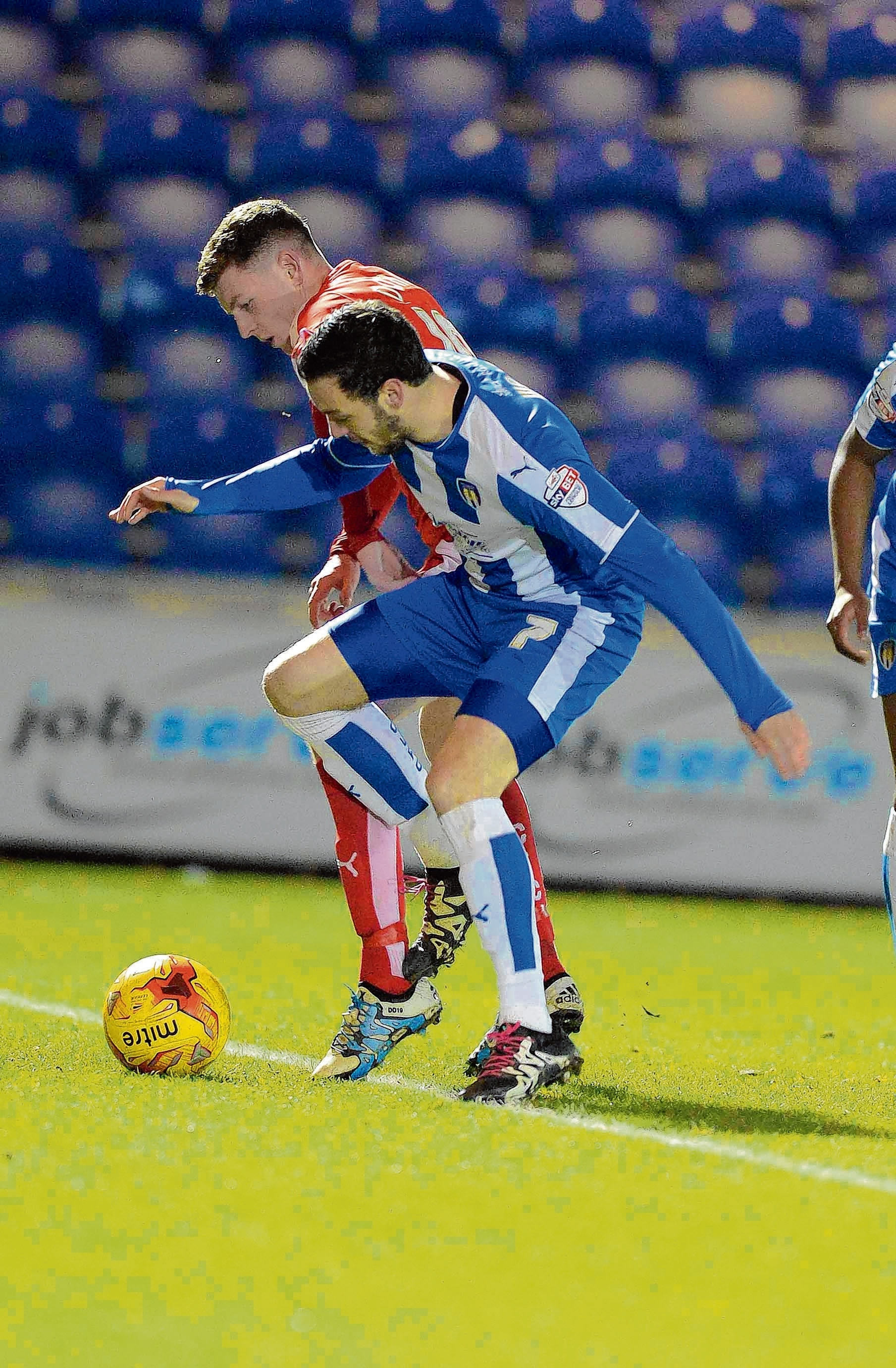 Wing play - Drey Wright battles for possession during Colchester United's 1-1 draw with Chesterfield. Picture: STEVE BRADING (CO114335-141)