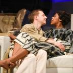 Gazette: Pete Ashmore as Elyot and Krissi Bohn as Amanda in Private Lives at the Mercury Theatre