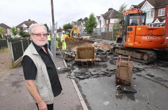 Closed - Ron Levy at the roadworks in Plume Avenue