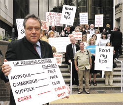 Protest - MEP Richard Howitt joins students demonstrating against the increased price for lip-reading courses. Picture submitted